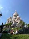 The sacré coeur in paris with bice blue weather Stock Photo