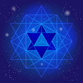 Sacral geometry design with polygon on background of space and stars. Magic symbol, mystical crystal. Spiritual graphic.