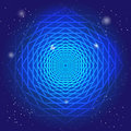 Sacral symbol in the space, on deep blue sky with stars. Spiritual design. The passage of time in universe.