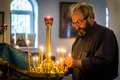 The sacrament of christ s mysteries in the russian orthodox church is performed during Royalty Free Stock Photos