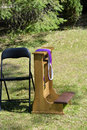 Sacrament of penance kneeler and chair preparation for the reconciliation and missing priest Royalty Free Stock Image