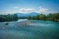 The Sacramento River, seen in Redding, California. Royalty Free Stock Photo