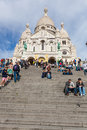 Sacre coeur cathedral in montmartre paris france october district on october paris france Stock Images