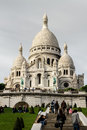 Sacre coeur church in paris unidentified people front of france on september construction of the began and was Royalty Free Stock Image