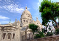 Sacre coeur montmartre paris the church seen from in france Royalty Free Stock Photos