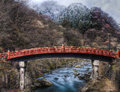 The sacred bridge shinkyo at nikko japan over daiya river s national park Stock Photo