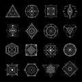Sacred Geometry On Black Set Royalty Free Stock Photo