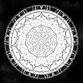 Sacred Geometry. Dark magic night sky Mandala round ornament. Esoteric symbol with dots.. Royalty Free Stock Photo