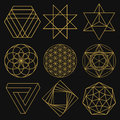 Sacred Geometry. Set of nine figures. Vector illustration. Royalty Free Stock Photo