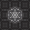 Sacred geometry sign on geometric abstract background. Abstract vector pattern. Mystic badge. Design element Royalty Free Stock Photo