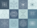 Sacred geometry symbols and elements set Royalty Free Stock Photo