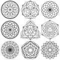 Sacred Geometry Symbols vector - set 02 Royalty Free Stock Photo