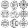 Sacred Geometry Symbols vector - set 03 Royalty Free Stock Photo