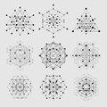Sacred geometry vector design elements. Alchemy, religion, philosophy, spirituality, hipster symbols and elements. Royalty Free Stock Photo