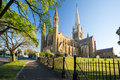 Sacred heart cathedral in bendigo at dusk on a warm spring day Stock Photo