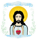 Sacred heart of jesus illustration Stock Images