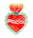 Sacred heart. Watercolor illustration Royalty Free Stock Photo