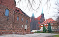 The sacred landmarks wroclaw poland november brick walls of st martin church with gothic nun monastery on background on november Royalty Free Stock Photography