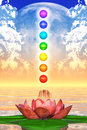 Sacred lotus and chakra spheres illustration of a Royalty Free Stock Images