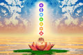 Sacred lotus and chakras illustration of a Royalty Free Stock Image