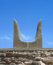 Sacred Minotaur horns stone symbol Stock Photo