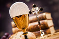 Sacred objects bible bread and wine Stock Photo