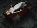Sacrificial virgin on altar from overhead Royalty Free Stock Photo