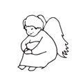 Sad Angel cute little man Royalty Free Stock Photo