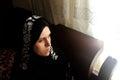 Sad arab muslim woman staring Royalty Free Stock Photo