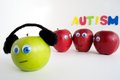 Sad autism apple series the red apples are grouped together talking about the green because it is different the red apples are Stock Image