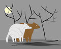 Sad bear and wolf with shadows Royalty Free Stock Photo