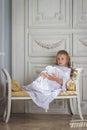 Sad beautiful little angel Royalty Free Stock Photo