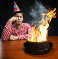 Sad birthday boy Royalty Free Stock Photo