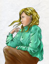 Sad blond girl blonde wearing green sweater and brown skirt colored pencil drawing Stock Images
