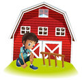 A sad boy in front of the barnhouse illustration on white background Stock Photography