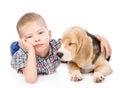 Sad boy hugging beagle puppy. isolated on white background Royalty Free Stock Photo