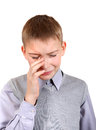 Sad boy is weeps isolated on the white background Royalty Free Stock Photo