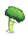Sad broccoli cartoon character on a white background Stock Photography