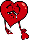 Sad broken heart cartoon illustration Royalty Free Stock Photo