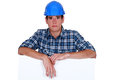 Sad builder has had enough Royalty Free Stock Photo
