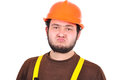 Sad builder with helmet on a white background Stock Photo