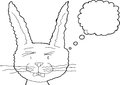 Sad bunny rabbit outline outlined fuzzy cartoon with tears Royalty Free Stock Photography