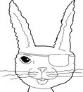 Sad bunny rabbit outline outlined fuzzy cartoon with tears Royalty Free Stock Image