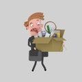 Sad businessman holding a box