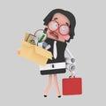 Sad businesswoman holding a box