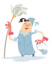 A sad cartoon cleaning lady holding a mop and a bucket Stock Images
