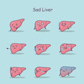 Sad cartoon liver set