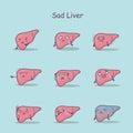 Sad cartoon liver set
