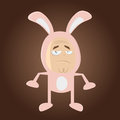 Sad cartoon man in bunny costume funny illustration of a Royalty Free Stock Images