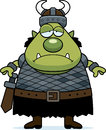Sad cartoon orc a illustration of an looking Royalty Free Stock Photos